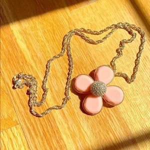 Pink Flower Pendant Long Necklace